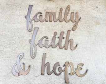 Art metal word decor! Family Faith & Hope