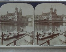 Antique 1902 stereoview card, George Rose Australia, #5036 View at Lucerne, Switzerland, women washing clothes