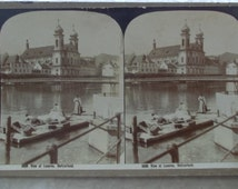 1902 George Rose stereograph stereoview #5036 View at Lucerne, Switzerland, women washing clothes