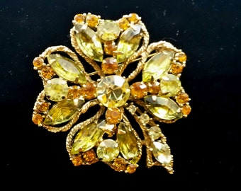 Vintage Signed WEISS amber and yellow Rhinestone Good Luck Shamrock Clover St. Patricks Brooch