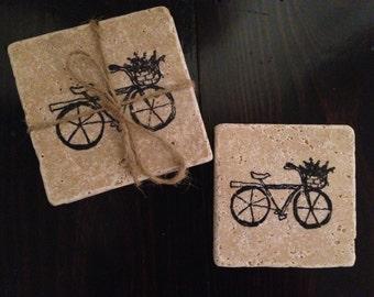 Biking Through The Bluebonnets- Travertine Coaster Set