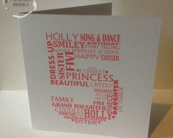 Personalised word art number birthday or anniversary card. Special occasion. Bespoke, custom design FREE UK POSTAGE