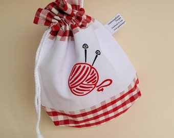 Handmade Drawstring Project Bag with Machine Embroidered Panel