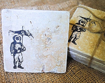 Unlucky Diver Coaster Set, Nautical Diver, Ocean Home Decor, White Elephant  Gift,