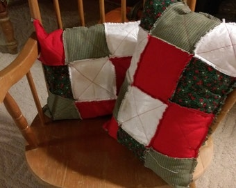 Christmas squilted rag style pillows