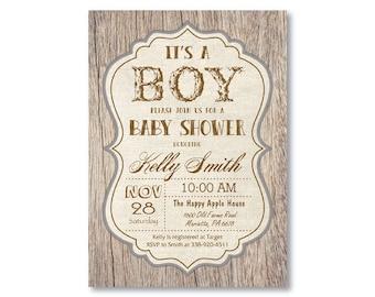 Rustic Baby Shower Invitation. Vintage Wood Baby Shower Invitation. It's a Boy. Boy Baby Shower Invite. Printable Digital.