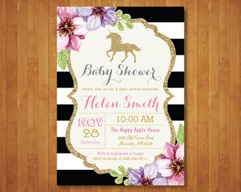 Unicorn Baby Shower Invitation. Pink Black and Gold Baby Shower Invite. Gold Glitter. Floral Flower. Girl Baby Shower. Printable Digital.