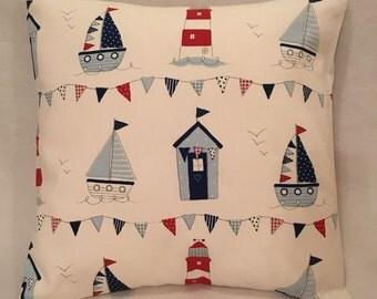 Fryetts Maritime Nautical Sailing Seaside Boats blue cushion cover ideal for boys bedroom, nursery interior