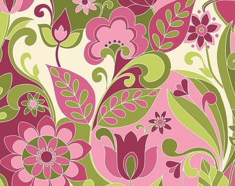 Botanique Main Berry by Riley Blake Designs - Floral Pink Green Flowers - Quilting Cotton Fabric - by the yard fat quarter half