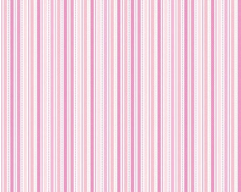 """Sweet Baby Girl Stripe Pink - Riley Blake Designs - Quilting Cotton Fabric - 12"""" end of bolt"""