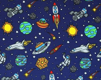 Navy Space Adventure Cotton Jersey Knit Fabric