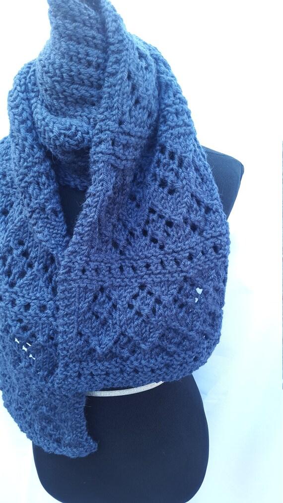 Knitting Pattern Hat Scarf Combo : Lace/Rib Scarf & Hat Combo