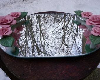 Vanity Mirror Tray with Ceramic Roses