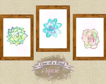 "Set of Three 5x7"" Succulent Watercolors"