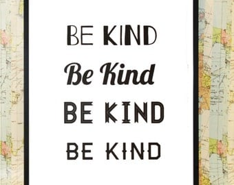 Be Kind poster typography print