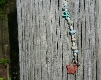 Cherry quartz suncatcher with moonstone sunstone pearl and aquamarine beads