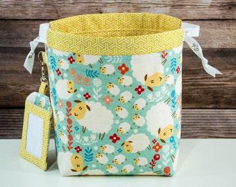Sheep! Sock Knitting Bag, Knitting Project Bag, Drawstring Bag, Small Project Bag, Crochet Bag,