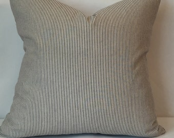 """Blue and cream striped pillow cover 20"""" x 20"""""""