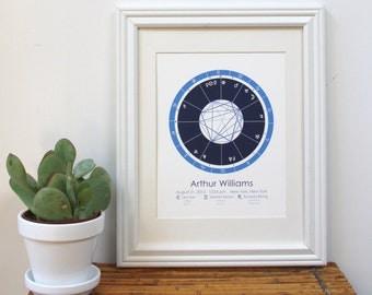 Custom Astrology Chart Art Print - Midnight Blue