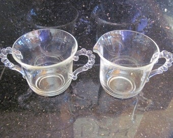 Candlewick Sugar and Creamer-Imperial Glass - Item #1209