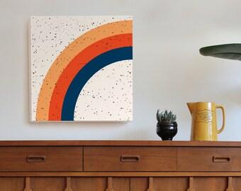 large rainbow art print, geometric art, geometric art print, mid century modern art, Scandinavian, minimal art, retro art, 70s, girls room