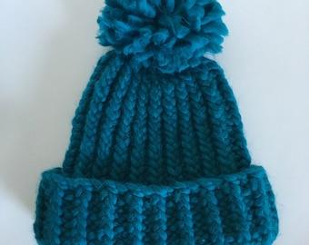 Teal Chunky Knit Hat Pom Pom Toque Blue Beanie Winter Hat