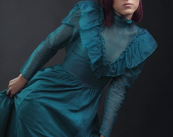 Gunne Sax Swiss Dot Victorian Inspired Blue Button & Bow Back Dress (Small)