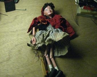 Vintage 50's Little red Riding Hood Marionette