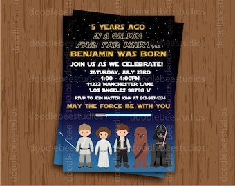 Star Wars Invitations, Printable Starwars Invitations, Star Wars Party, Star Wars Digital Cards, Star Wars Invitation Cards