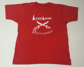 Vintage Retro Lakeland Buccaneers Screen Stars 50/50 soft tshirt size M