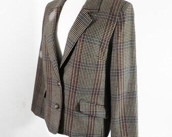 Vintage Equorian Pure Wool English Ladies Plaid Check Jacket  Size M