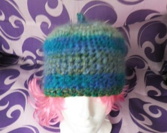 Turquoise Blue and Green Wool and Fluffy Stripe Hand Crochet Hat