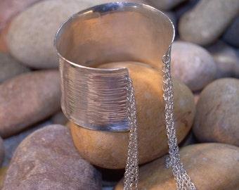 Fringe Cuff Bracelet, Sterling Silver Cuff Bracelet, Hammered Cuff Bracelet, Boho Style