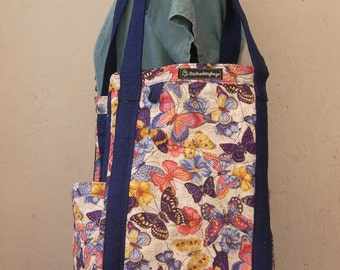Insulated Butterfly Market Bag, Tote Bag, Beach Bag, Diaper Bag, Hand Crafted