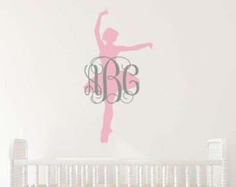 Ballerina wall decal | Ballerina nursery | Ballerina decal | Ballet decal | Ballet monogram decal | Ballerina monogram decal | Ballet name