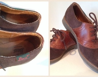 SALE----Vintage - Bass Brown Tan Leather Suede Oxfords Shoes Flats - Size 6 1/2 M - Made in USA