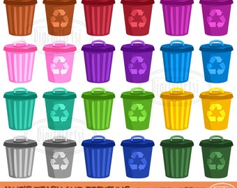 Trash Cans Clipart - Garbage and Recycling Bins Download - Instant Download - Colorful Trash Cans and Recycling Bins