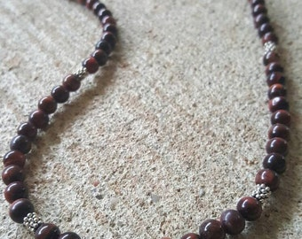 Handmade, Red Tigers Eye gemstone necklace with sterling silver