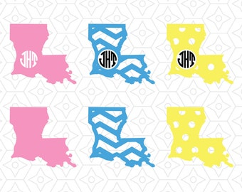 Louisiana State Monogram Frame Decal Collection, SVG, DXF and AI Vector files for use with Cricut or Silhouette Vinyl Cutting Machines