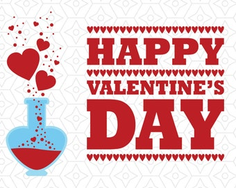 Happy Valentine's Day Love Potion Decal, SVG, DXF and AI Vector files for use with Cricut or Silhouette Vinyl Cutting Machines