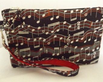 "20At - musical notes designed Clutch, large - @ 8 1/2""x 5 1/2"", standing, cotton, padded, detachable handle, MJSEWS"