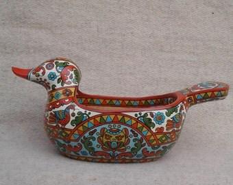 """Russian folk art.Hand made wooden scoop""""Duck"""" . Home decor. Wood Bowl."""