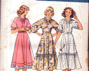 Genuine Vintage 1970s STYLE 2283 Ladies '3' Special Frilly Fluted Floaty Ethereal Dresses Sewing Pattern