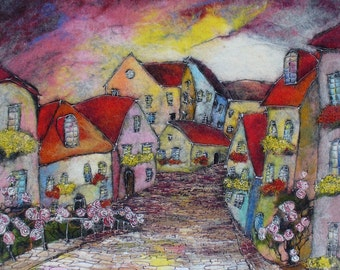 Felt Picture. Colorful Town.