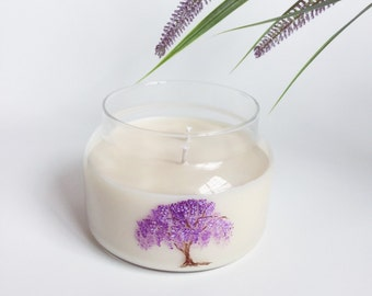 Wisteria Candle/  8oz, 2 wick/ handpainted/ natural soy wax/ refillable/ zero waste/ Mother's Day Gift