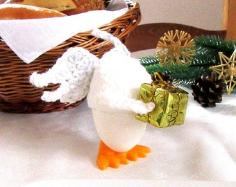 Egg Cozy Angel with Present white gold table decoration for Christmas and for breakfast during christmas time