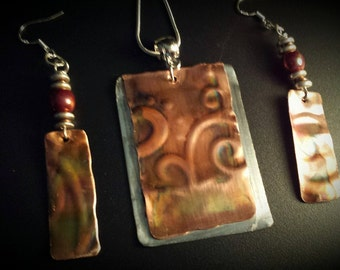 Copper Pendant and Earring Set~ Artisan Jewelry