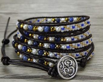 bead wrap bracelet blue wrap bracelet gypsy seed bead bracelet boho pearl leather wrap bracelet bead leather bracelet jewelry SL-0407