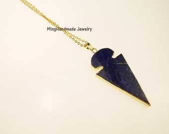 Lapis Lazuli Arrowhead Necklace Gold Edge Gemstone Pendant Bohemian Navy Blue Natural Stones Semi Precious Stone  TNK-0024
