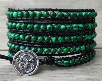 Boho Wrap Bracelet Green Malachite bracelet womens boho Leather wrap bracelet gypsy beaded wrap bracelet bohemian bracelet jewelry SL-0143
